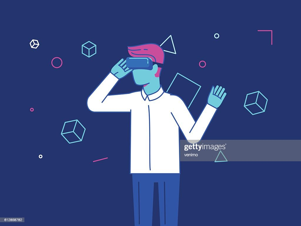 Vector illustration in modern flat style - guy wearing vr