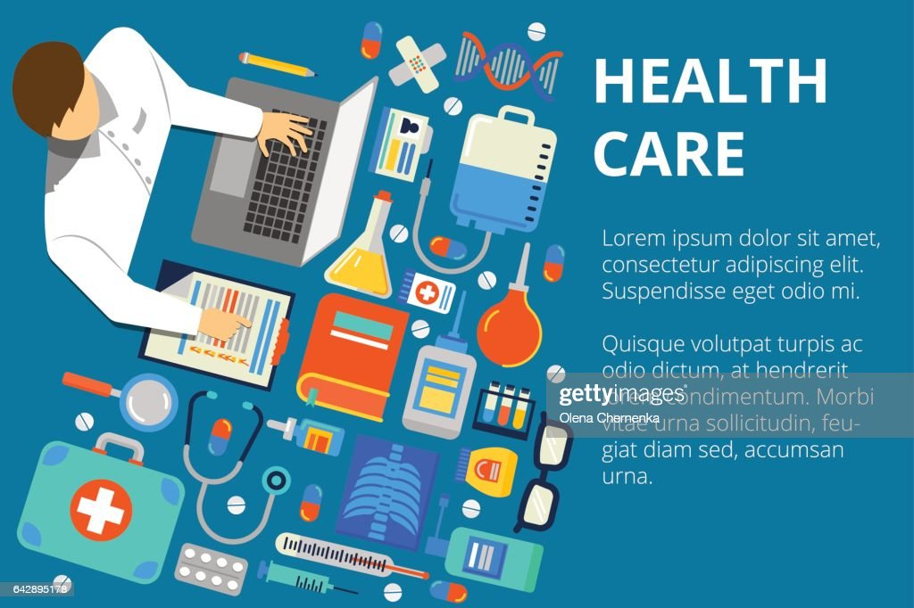 Vector illustration in modern flat style, health care concept. Doctor's work desk with a lot of medical things. Can used for web banners and info graphic.