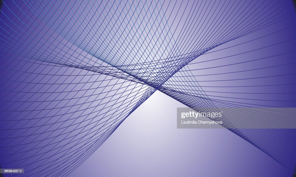Vector illustration in monochrome tones of abstract intersecting lines. Drawing can be used for background design, posters, paintings, textiles, web design.