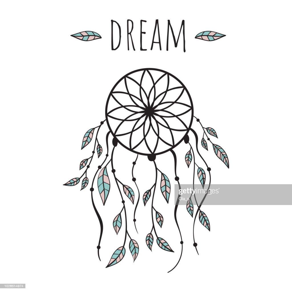 Vector illustration in Scandinavian style, dream catcher. White background