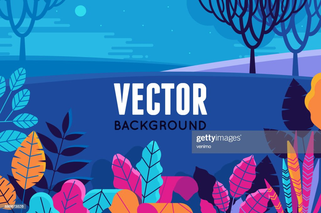 Vector illustration in trendy flat and linear style - background with copy space for text - plants, leaves and nature landscape