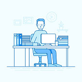 Vector illustration in trendy flat linear style and blue colors - man working sitting at the desk with computer and hard working