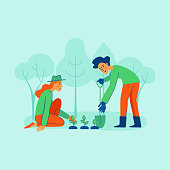 Vector illustration in trendy flat linear style - gardening concept