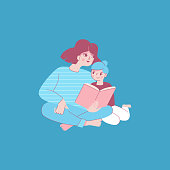 Vector illustration in trendy flat linear style - happy mother reading a book with child