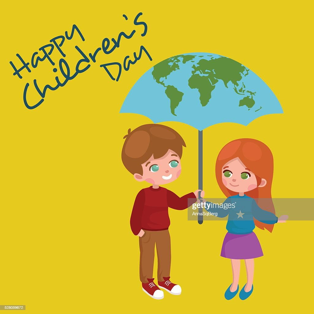 Vector Illustration Kids Playing Greeting Card Happy Childrens Day
