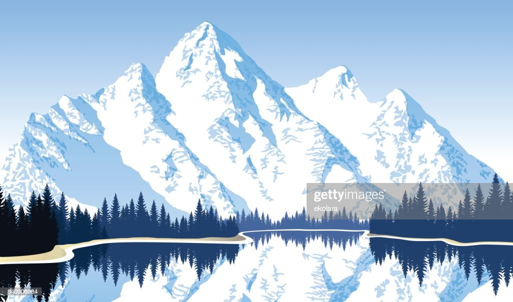 Vector illustration - lake in mountains