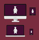 Vector illustration laptop, smartphone, tablet, computer screen with white linux