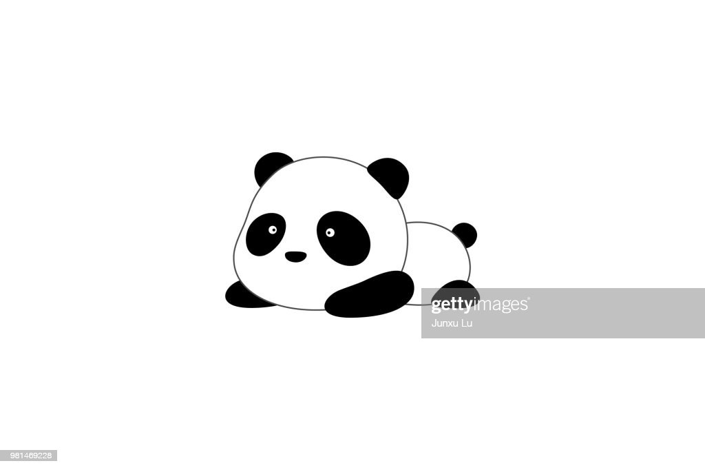Vector Illustration / Logo Design - Cute funny cartoon giant panda bear lies on the ground