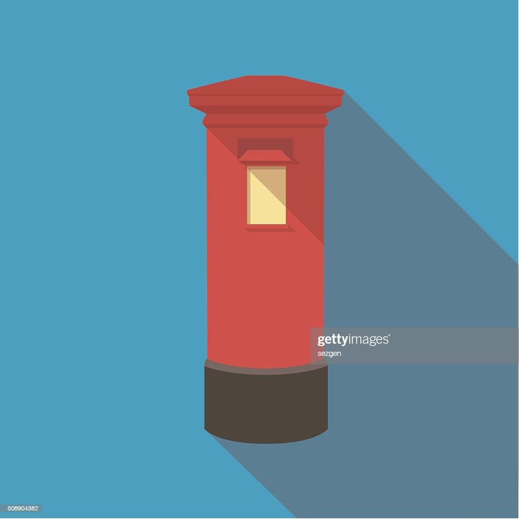 Vector illustration long shadow of london red post box