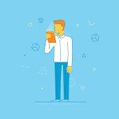 Vector illustration - man holding tablet pc
