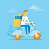 Vector illustration - man riding motorbike