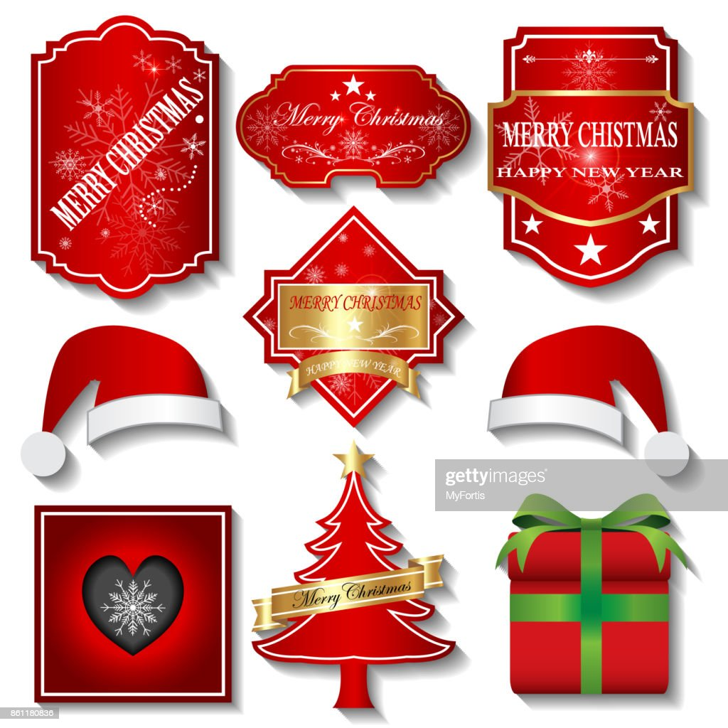 Merry Christmas Labels.Vector Illustration Merry Christmas Labels Stock