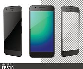 Vector illustration mock-up of black smart-phone