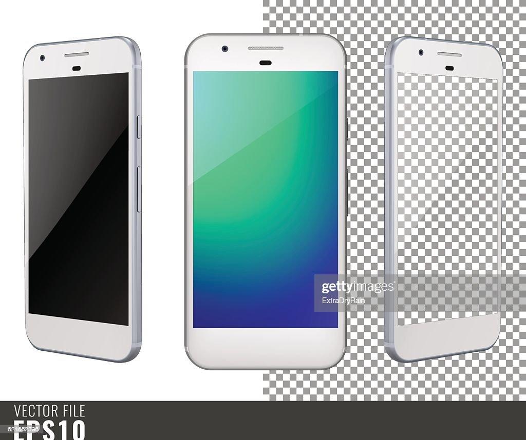 Vector illustration mock-up of white smart-phone