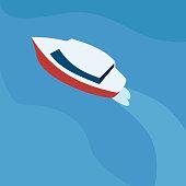 Vector illustration motorboat in flat design