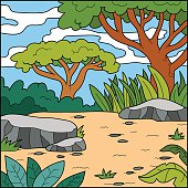 Vector illustration, natural background (savanna)