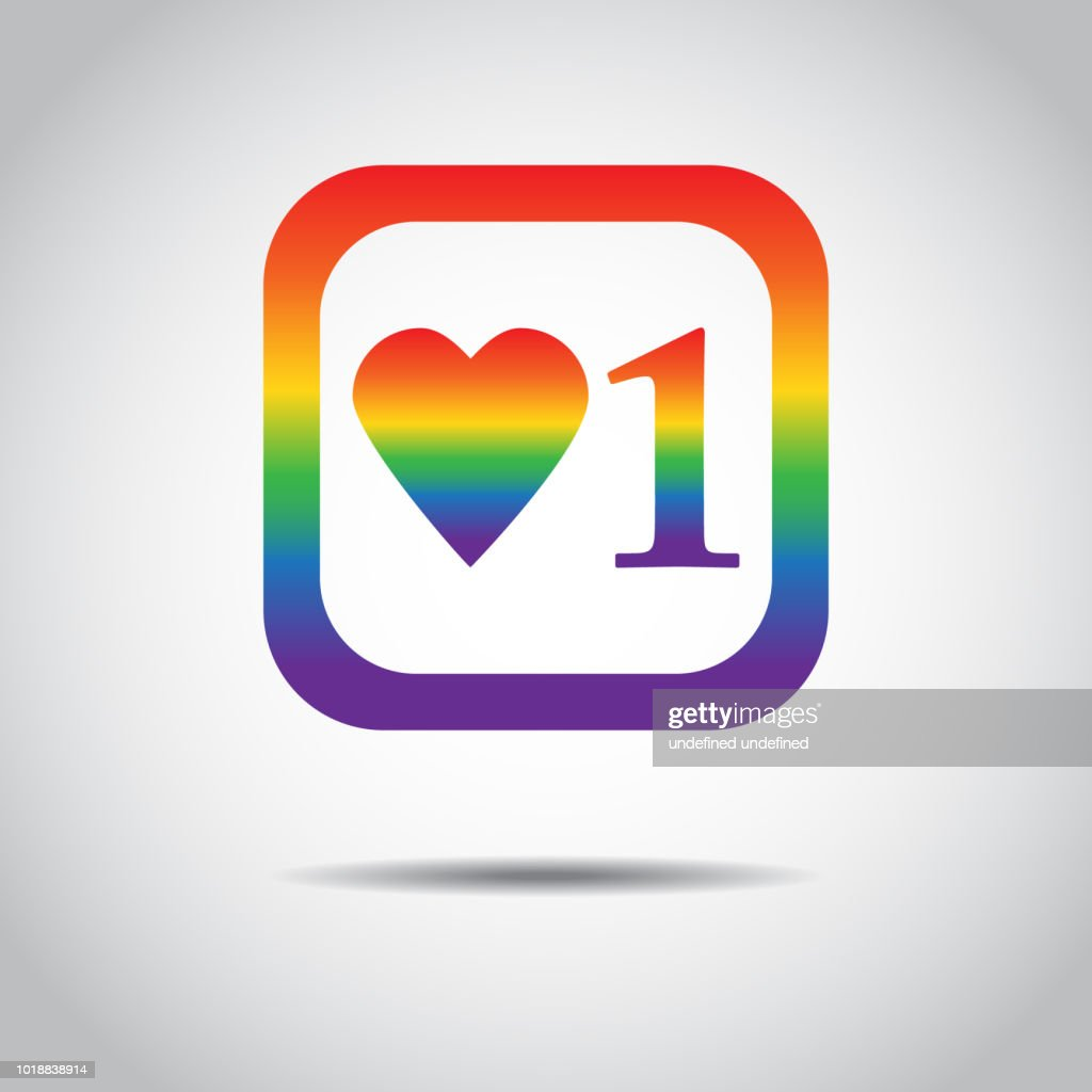 Vector illustration. New Counter Notification Icon in LGBT color. Follower. New Icon like 1 symbol, button. Social media like ui, app