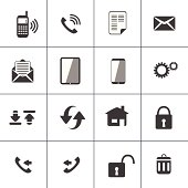 Vector illustration of 16 communication icons