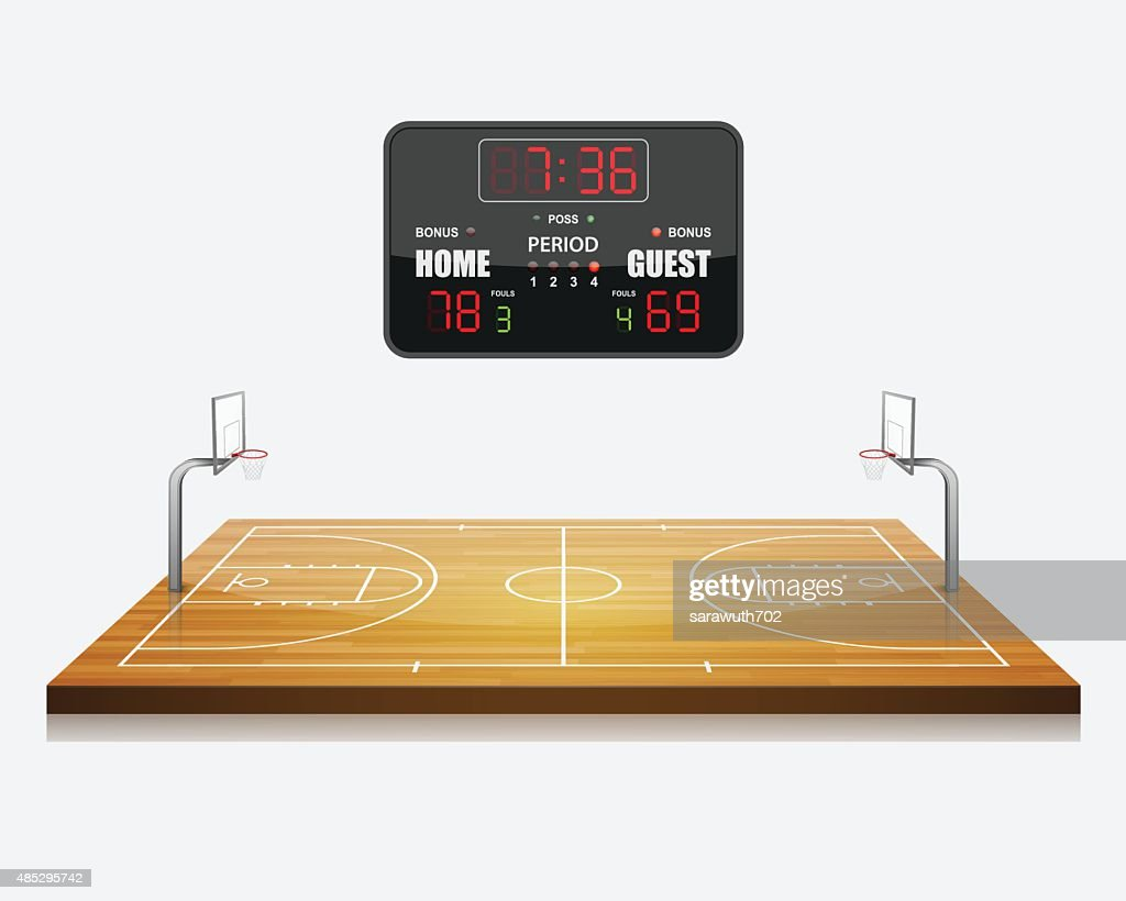 vector illustration of 3d Basketball field with a scoreboard.