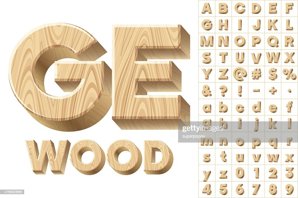 Vector illustration of 3d realistic font characters of wood