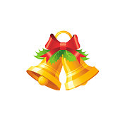 Vector illustration of 3d realistic Xmas symbol. Cute gold jingle bells with bow, holly. Merry Christmas and winter holiday icon isolated on white background. Flat retro design element, cartoon logo
