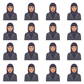 vector illustration of a arabic face expressions