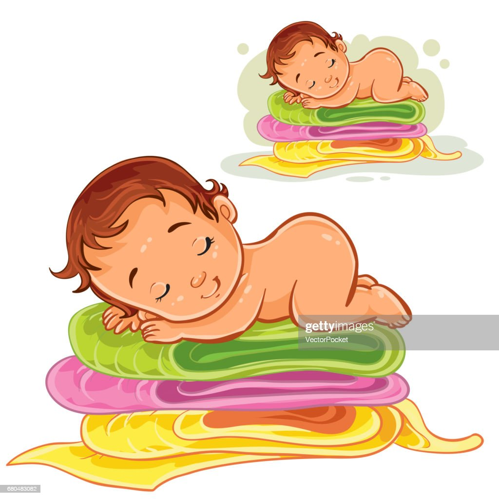 Vector illustration of a baby sleeping on a pile of bath towels