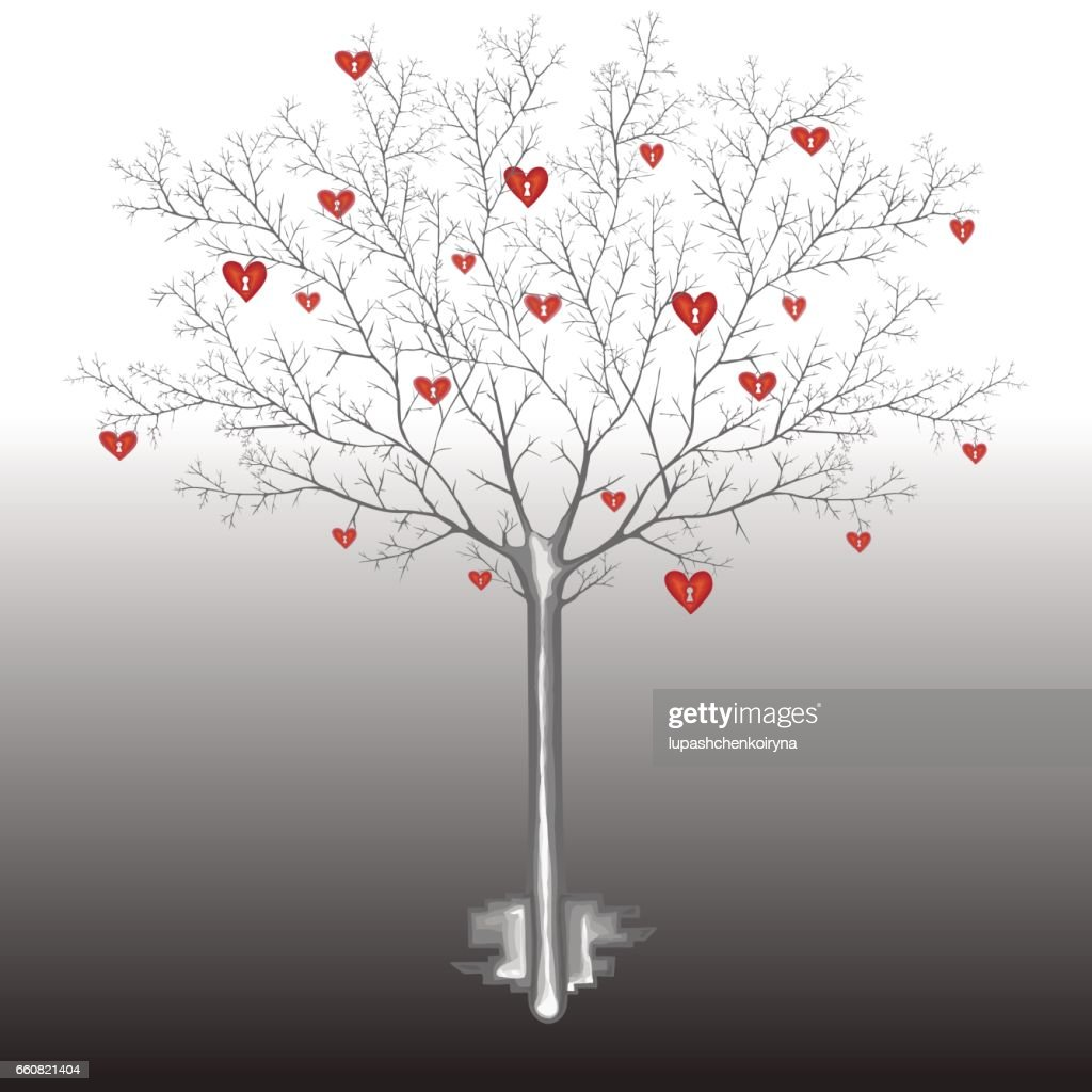 Vector illustration of a bare tree with symbols of human hearts