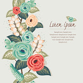 Vector illustration of a beautiful floral frame with spring flowers.