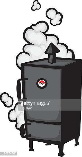 a vector illustration of a black meat smoker - smoking issues stock illustrations, clip art, cartoons, & icons
