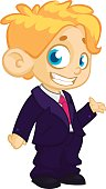 Vector illustration of a blond boy in man's clothes. Cartoon of a young boy dressed up in a mans business brown suit presenting outlined