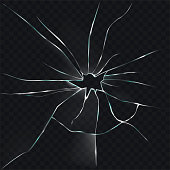 Vector illustration of a broken, cracked, cracked glass with a hole