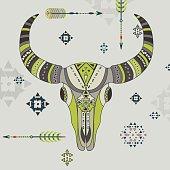 Vector illustration of a buffalo skull.