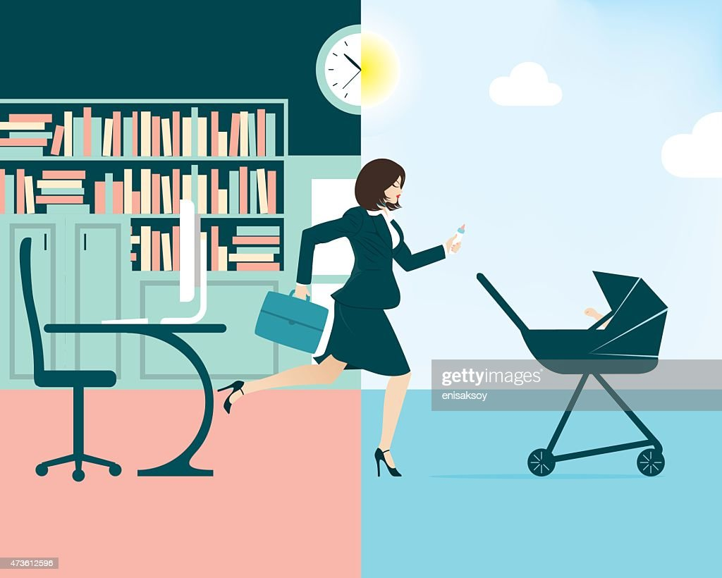 Vector illustration of a busy businesswoman and mum : stock illustration