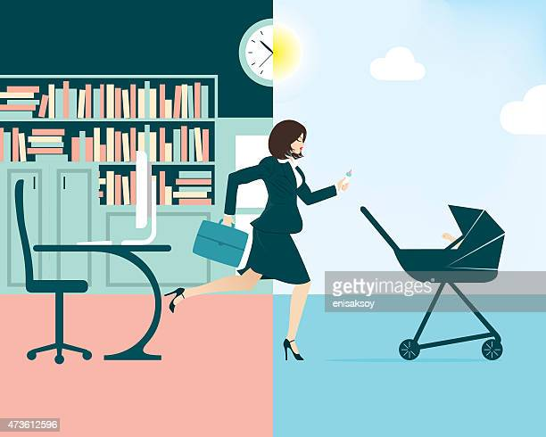 vector illustration of a busy businesswoman and mum - to do list stock illustrations, clip art, cartoons, & icons