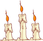 Vector illustration of a Cartoon burning candle