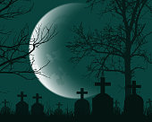 Vector illustration of a cemetery with headstones, dead trees and crescent moon - suitable for Halloween