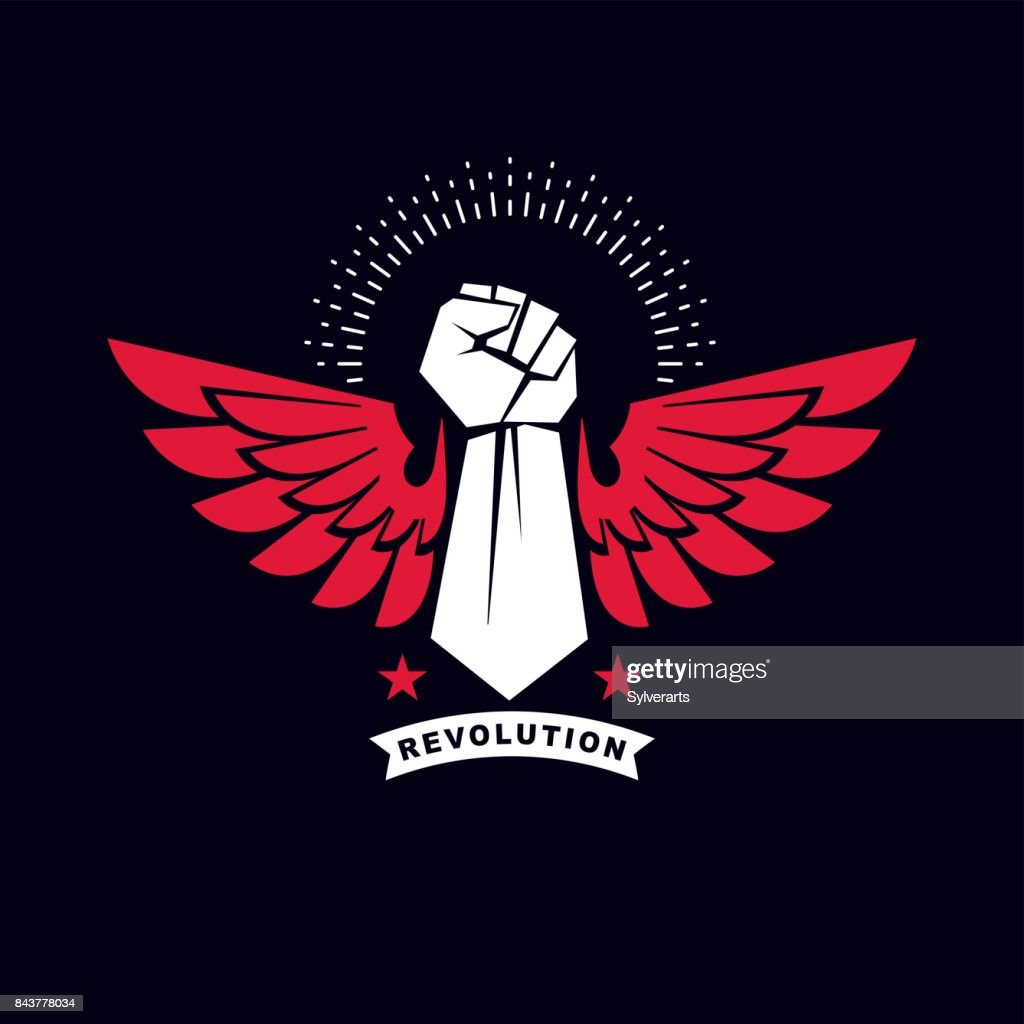 Vector illustration of a clenched fist raised up. Boxing club abstract emblem can be used as tattoo.