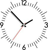 Vector illustration of a clock in black and white