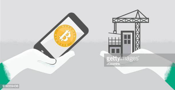 vektor-illustration eines bitcoin-entwicklungskonzeptes bau mit hand - gewerbeimmobilie stock-grafiken, -clipart, -cartoons und -symbole