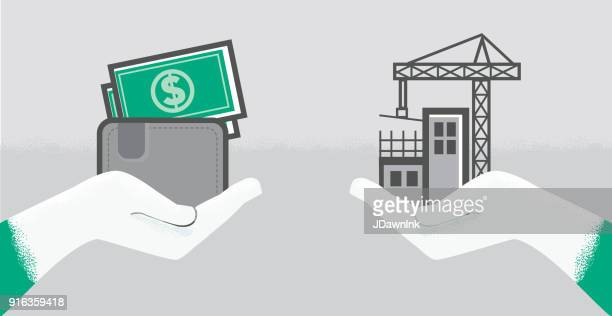 vector illustration of a construction development concept with hand - commercial real estate sign stock illustrations