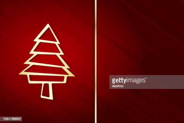 vector illustration of a creative modular golden yellow christmas tree over self diagonal stroked red background. there is a thin golden vertical stripe/ band in the middle of the frame. - maroon stock illustrations, clip art, cartoons, & icons