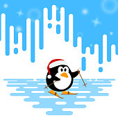 Vector illustration of a cute little penguin ski winter on an abstract striped background. Winter sport