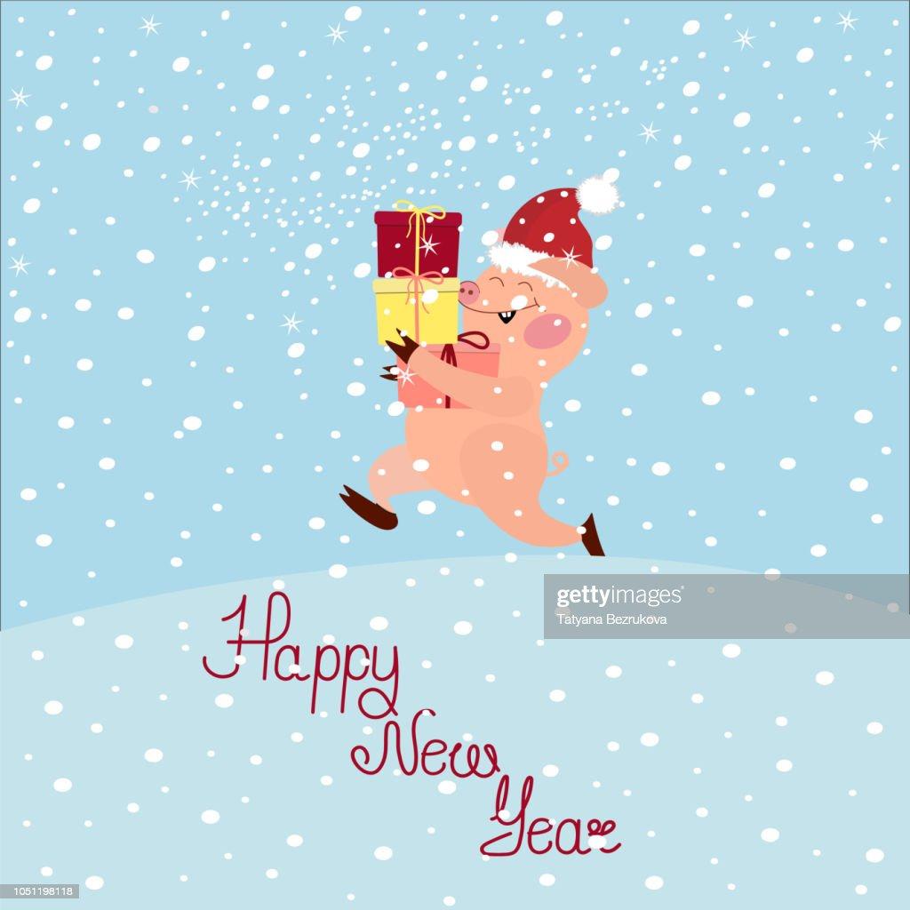 Vector illustration of a cute pink cartoon piglet in a Santa Cla
