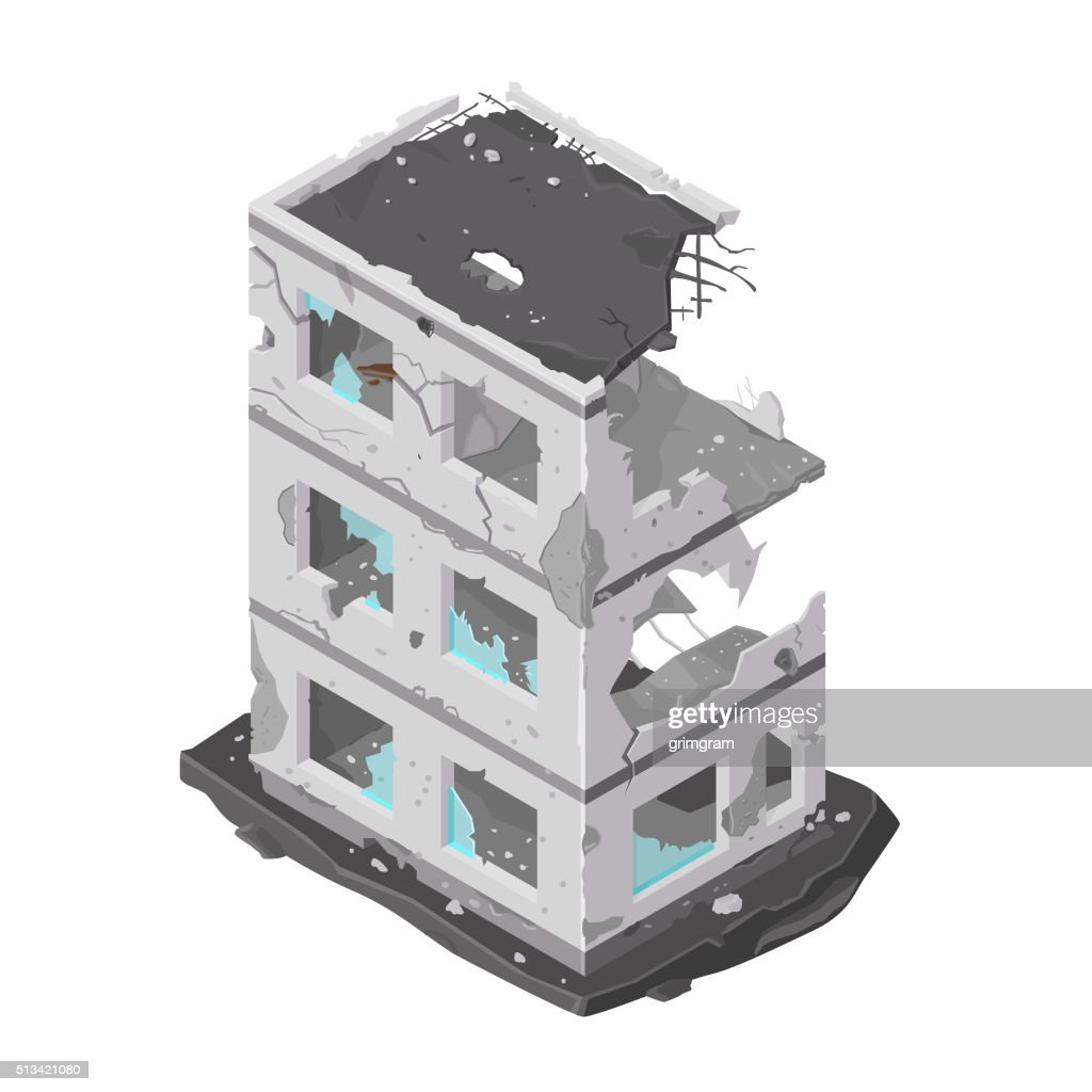 Vector illustration of a damaged building icon.