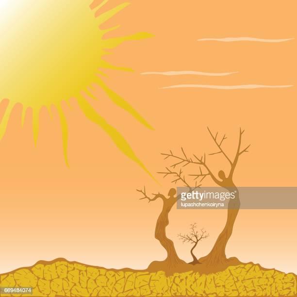 vector illustration of a desert symbolizing the struggle for lif - dehydration stock illustrations, clip art, cartoons, & icons