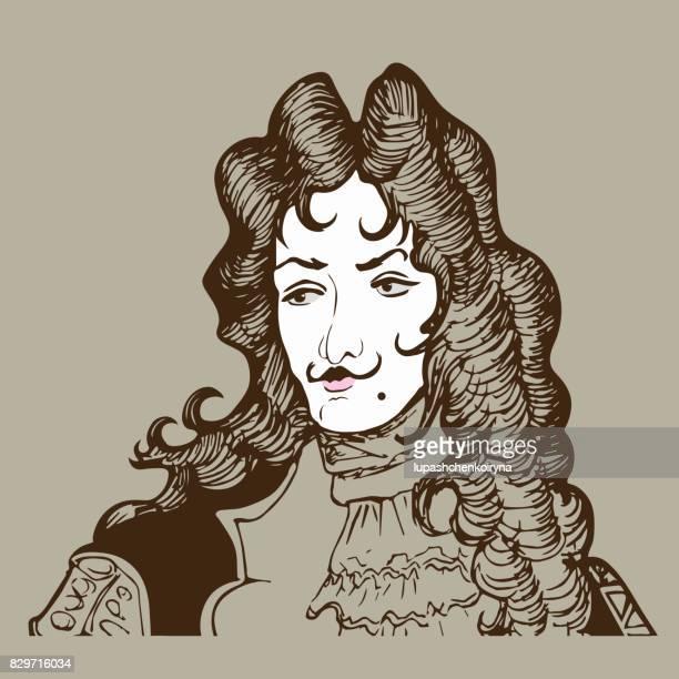 Vektor-Illustration eine dramatisierte Porträt eines barocken Adeligen