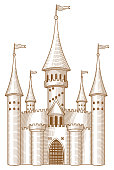 A vector illustration of a fairy tale castle