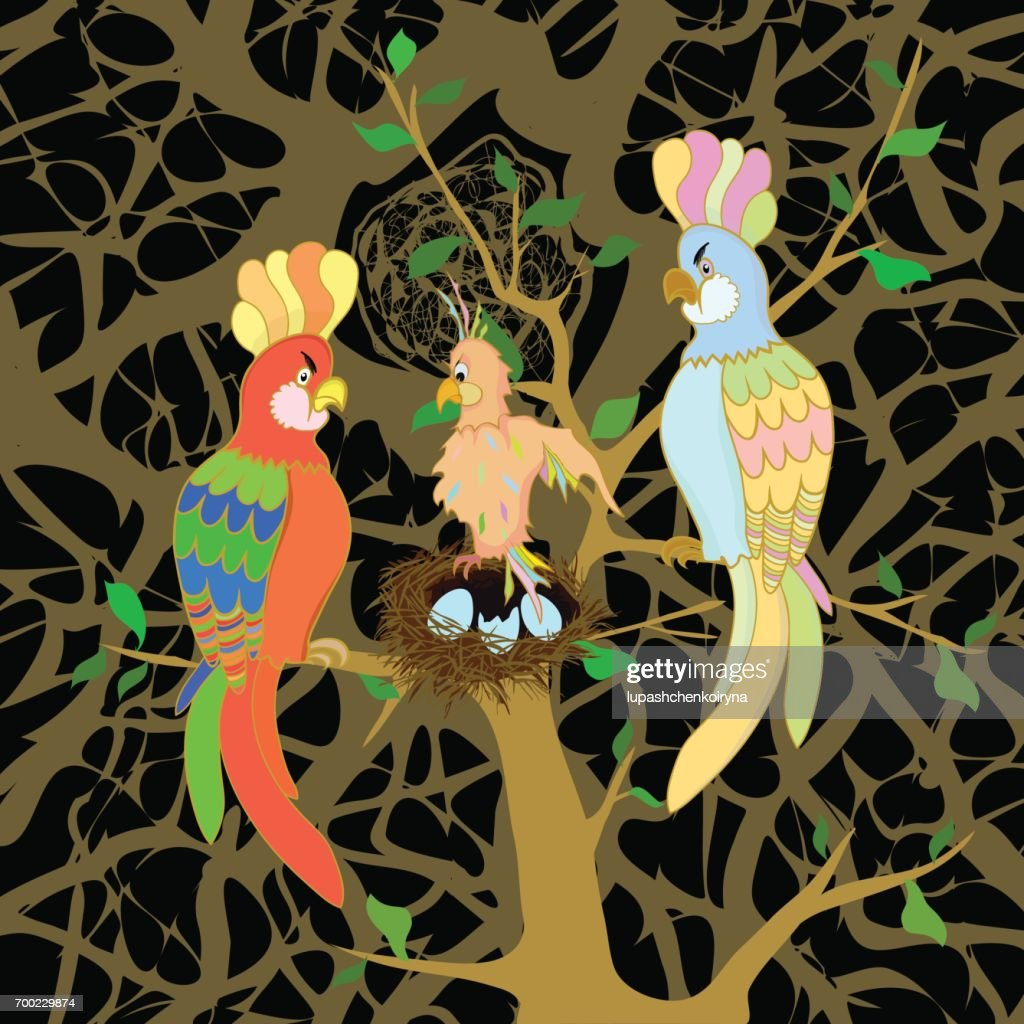 Vector illustration of a family of parrots with a nestling : stock illustration