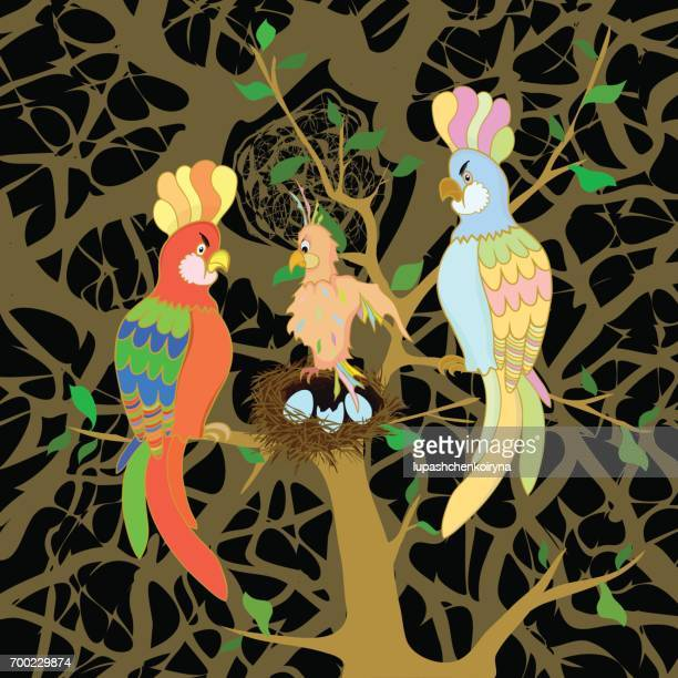 Vector illustration of a family of parrots with a nestling
